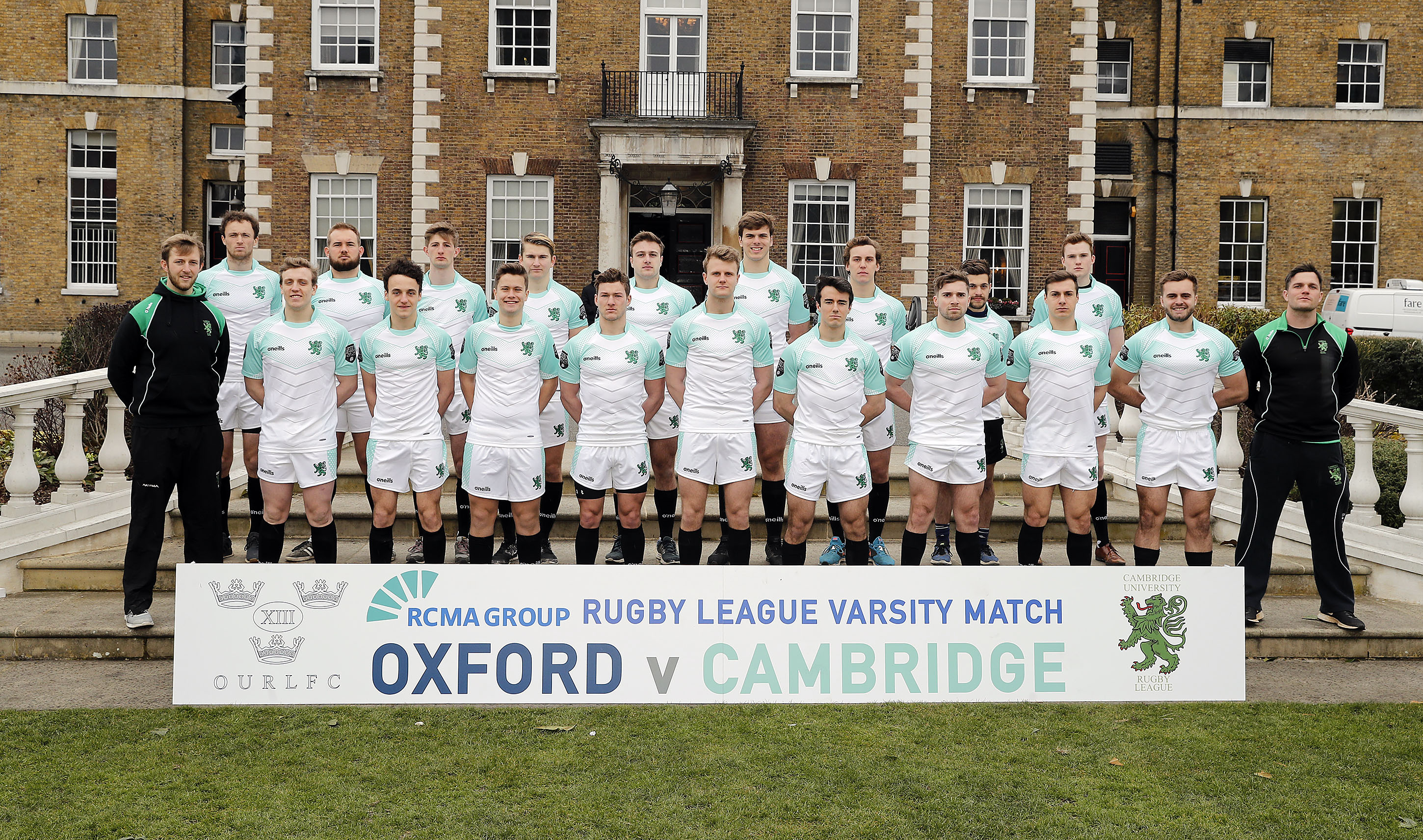 Cambridge University team photo during the RCMA Varsity Rugby League game between Cambridge University and Oxford University at the HAC Ground, Moorgate, London on Fri Mar 9, 2018