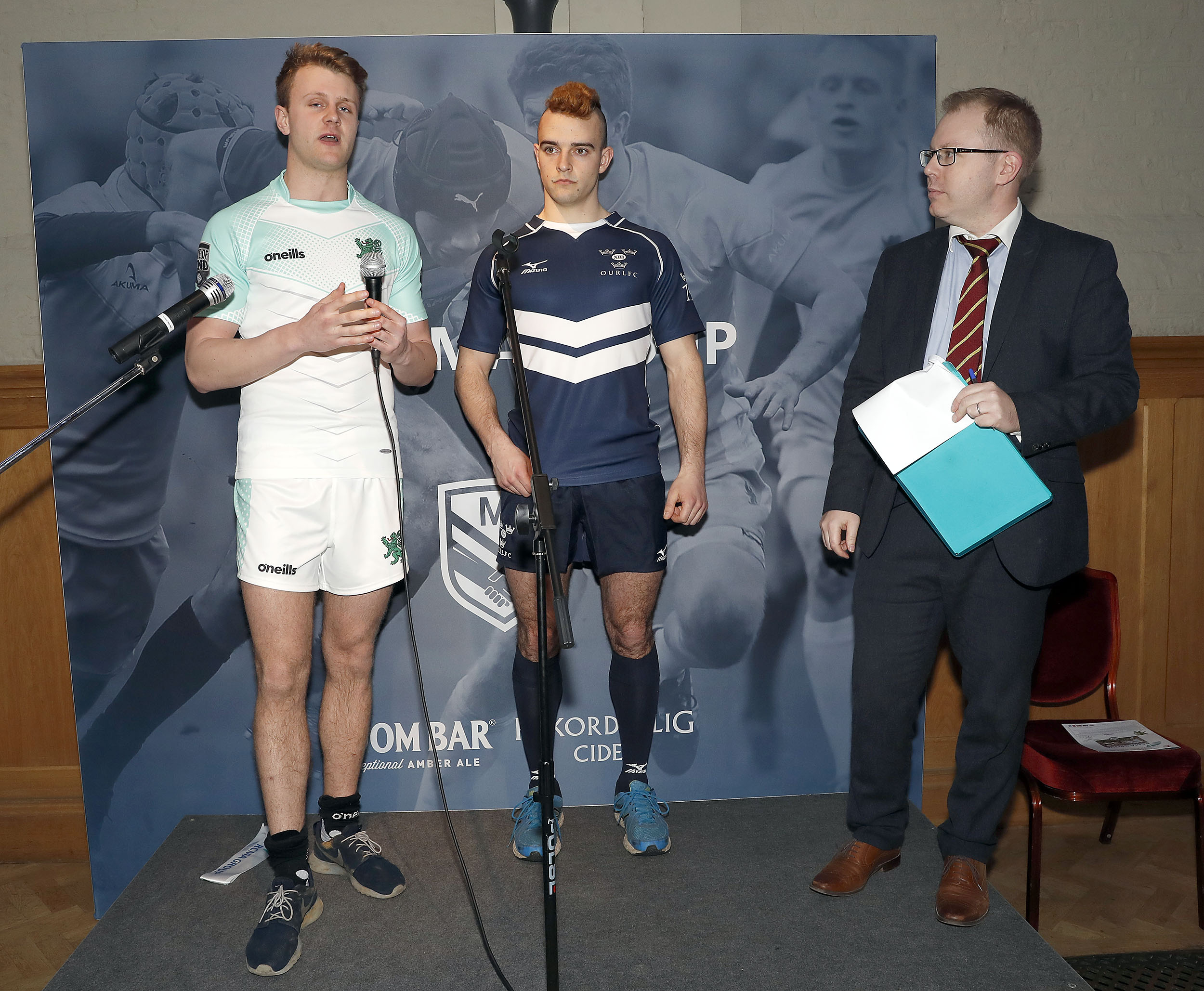 The two captains during the RCMA Varsity Rugby League game between Cambridge University and Oxford University at the HAC Ground, Moorgate, London on Fri Mar 9, 2018