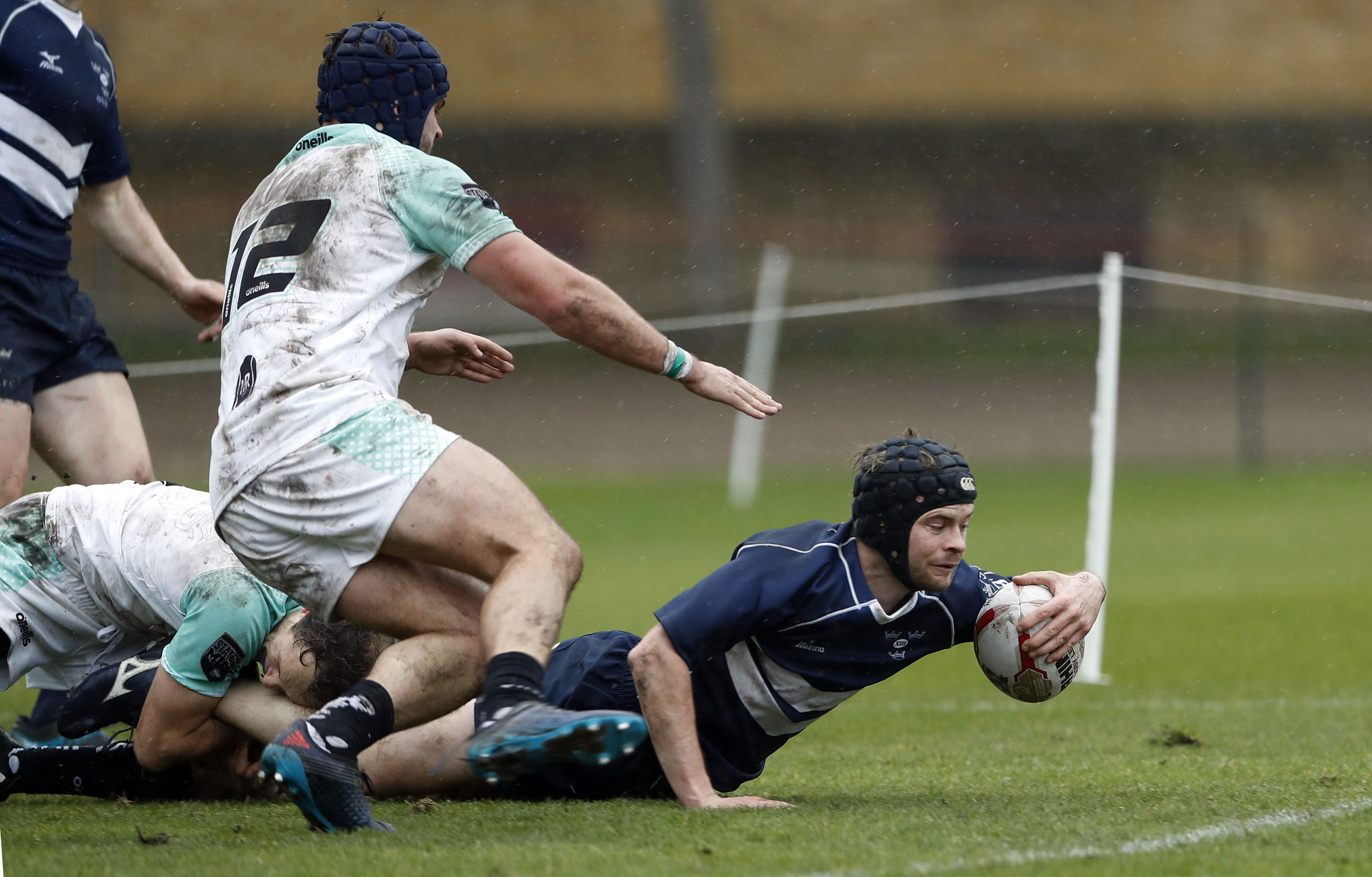 William Taverner touches down for Oxford during the RCMA Varsity Rugby League game between Cambridge University and Oxford University at the HAC Ground, Moorgate, London on Fri Mar 9, 2018