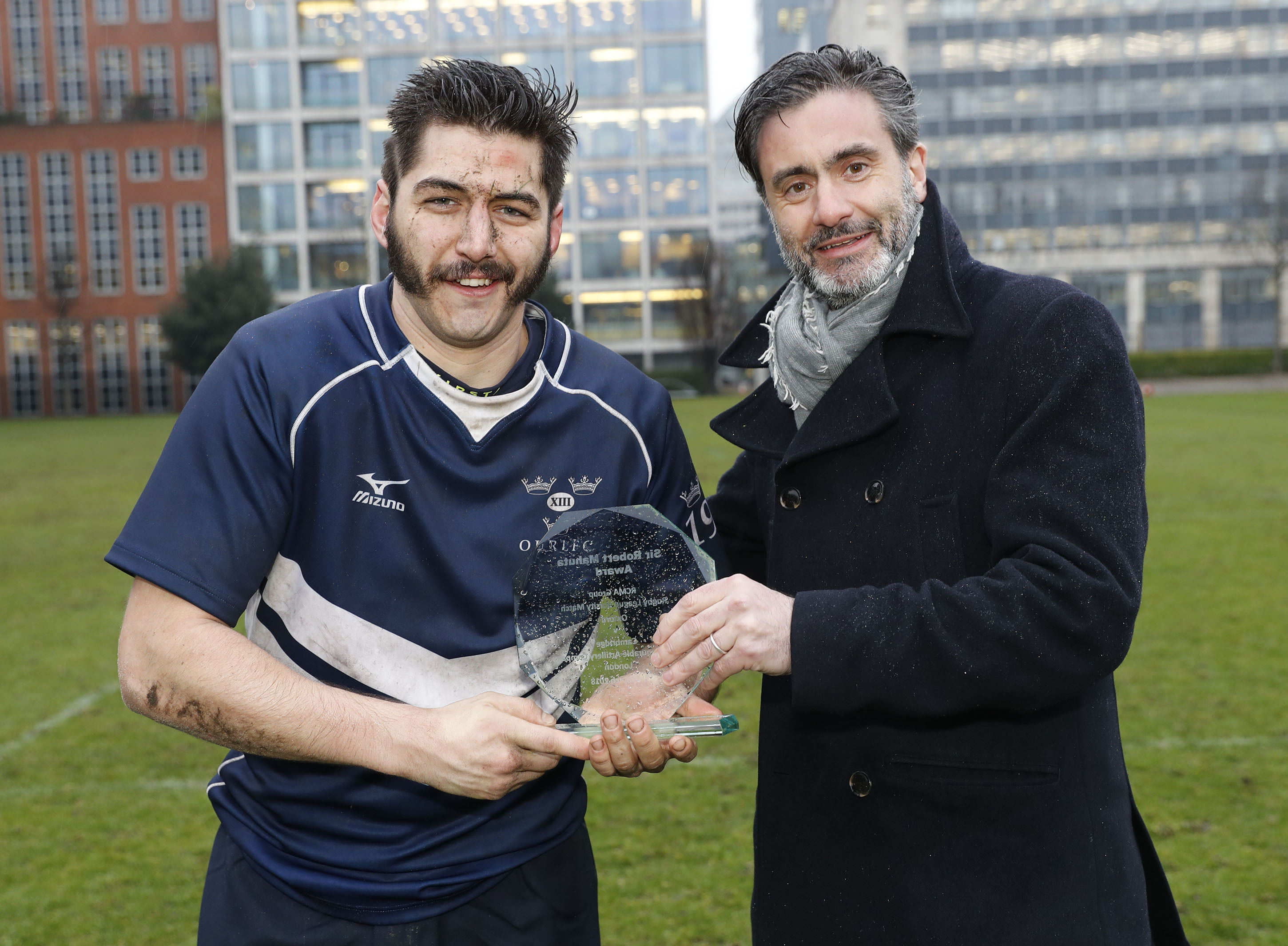 Phil Maffettone of Oxford recieve his man of the match award during the RCMA Varsity Rugby League game between Cambridge University and Oxford University at the HAC Ground, Moorgate, London on Fri Mar 9, 2018
