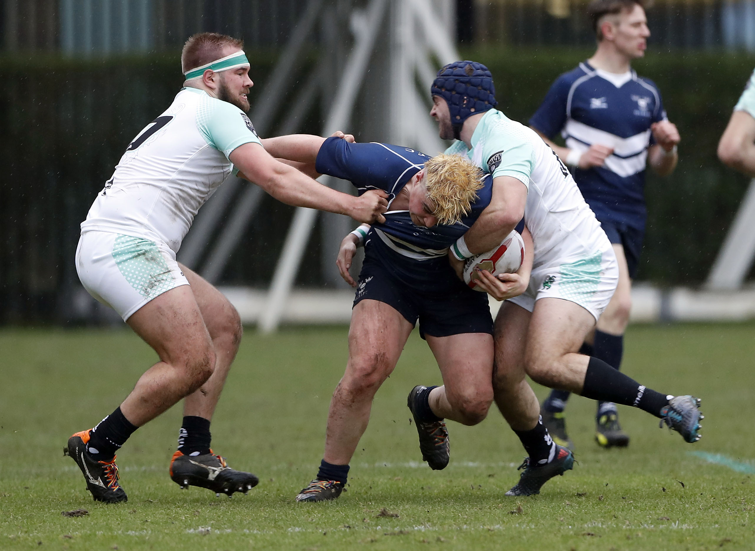 Action during the RCMA Varsity Rugby League game between Cambridge University and Oxford University at the HAC Ground, Moorgate, London on Fri Mar 9, 2018