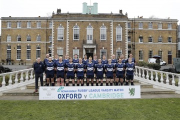 Oxford University team photo during the RCMA Varsity Rugby League game between Cambridge University and Oxford University at the HAC Ground, Moorgate, London on Fri Mar 9, 2018