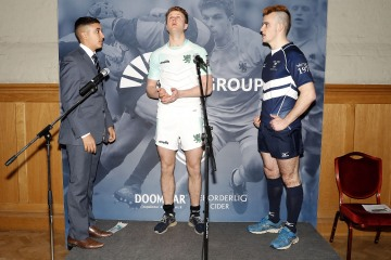 Coin toss during the RCMA Varsity Rugby League game between Cambridge University and Oxford University at the HAC Ground, Moorgate, London on Fri Mar 9, 2018