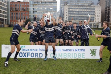 Oxford Univeristy celebrate at the end of the RCMA Varsity Rugby League game between Cambridge University and Oxford University at the HAC Ground, Moorgate, London on Fri Mar 9, 2018