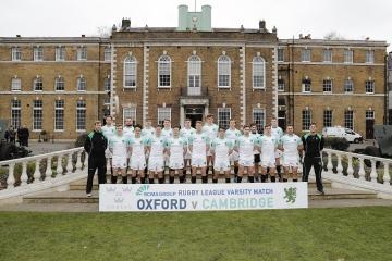 Cambridge University team photo during the RCMA Varsity Rugby League game between Cambridge University and Oxford University at the HAC Ground, Moorgate, London on Fri Mar 9, 2018