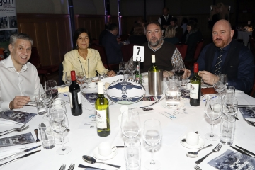 Hospitality tables during the RCMA Varsity Rugby League game between Cambridge University and Oxford University at the HAC Ground, Moorgate, London on Fri Mar 9, 2018