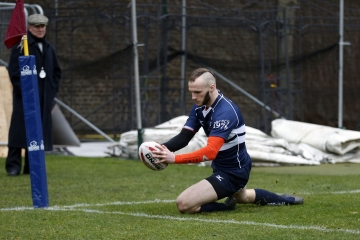 John Wylde touches down for a try for Oxford during the RCMA Varsity Rugby League game between Cambridge University and Oxford University at the HAC Ground, Moorgate, London on Fri Mar 9, 2018